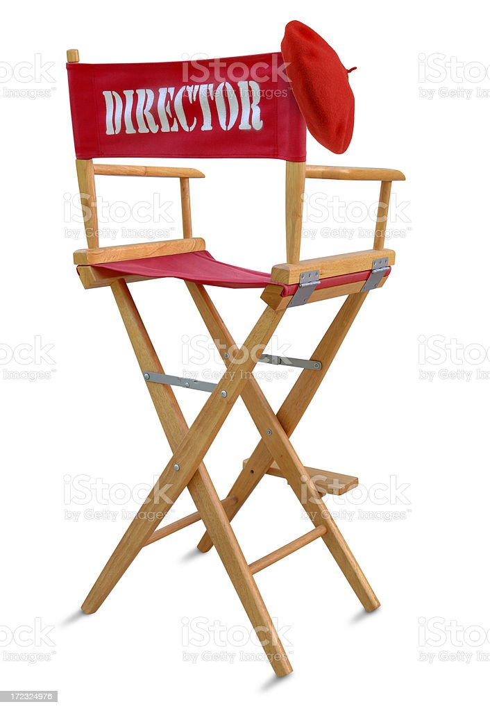 Director\'s Chair with Red Beret on White.