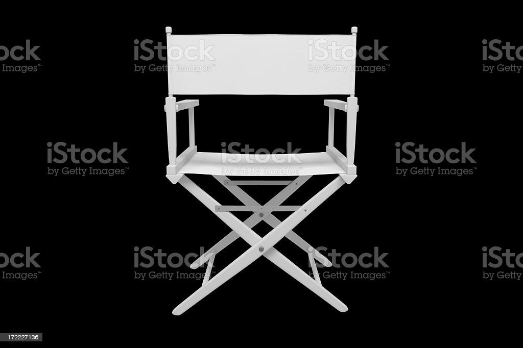 Director's Chair - Plastic / White (Clipping Path / Back) stock photo