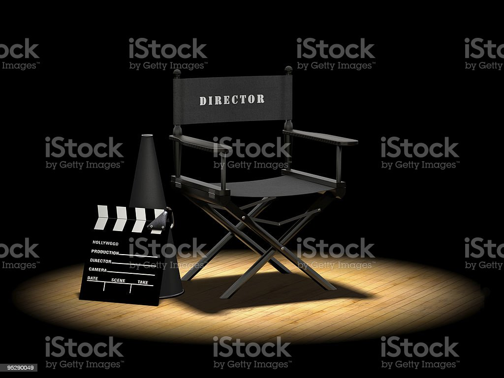 Director's Chair Under Spotlight stock photo