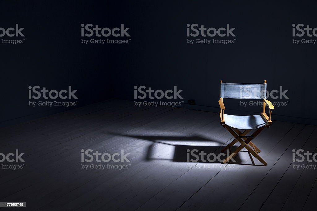 Director's Chair Under The Spotlight stock photo