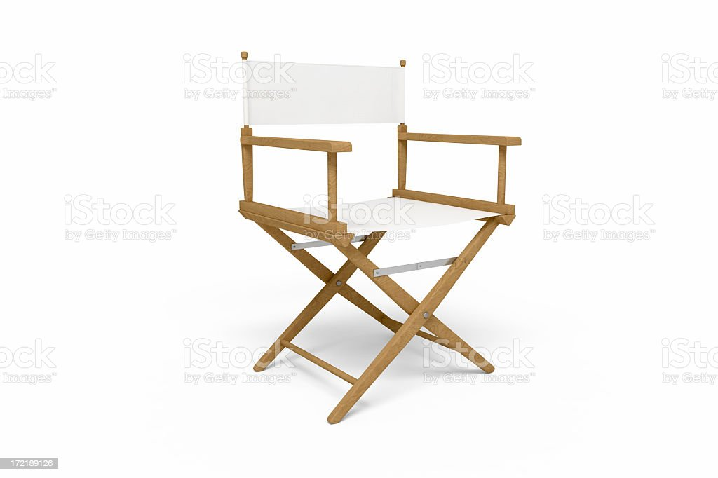 Director's Chair - Wooden / White (Isolated) stock photo
