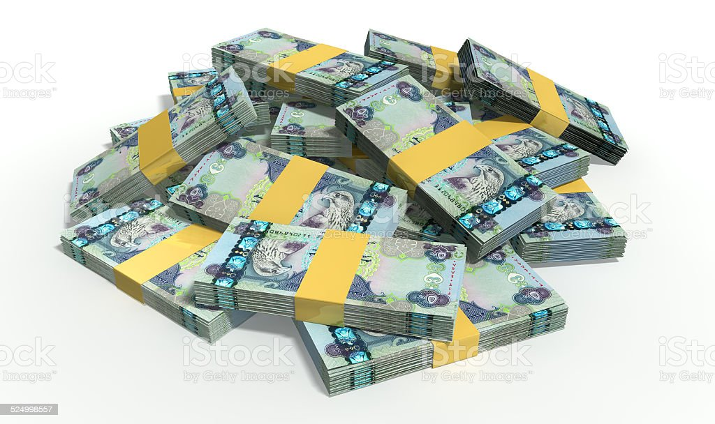 Dirham Notes Scattered Pile stock photo
