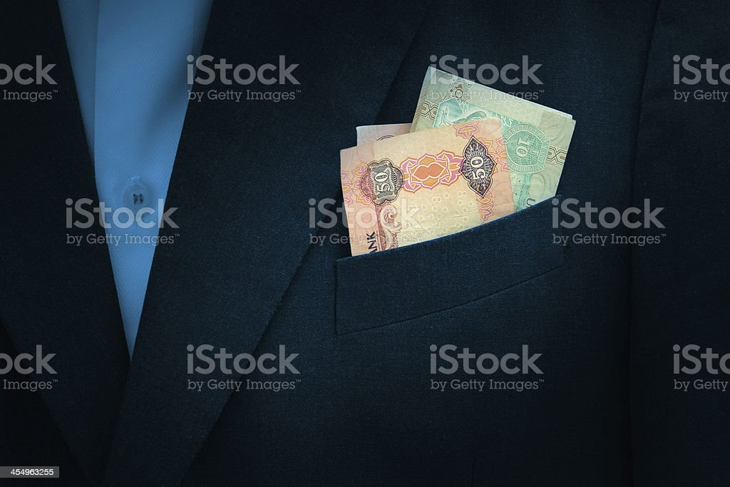 UAE Dirhams banknote on pocket royalty-free stock photo