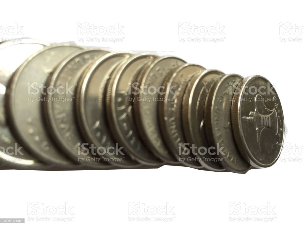 1 Dirhams Coins of the United Arab Emirates stock photo