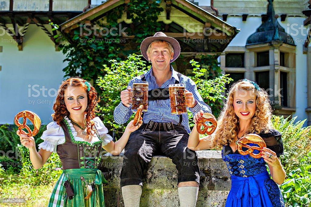 Dirndl, beer, pretzel, oktoberfest stock photo