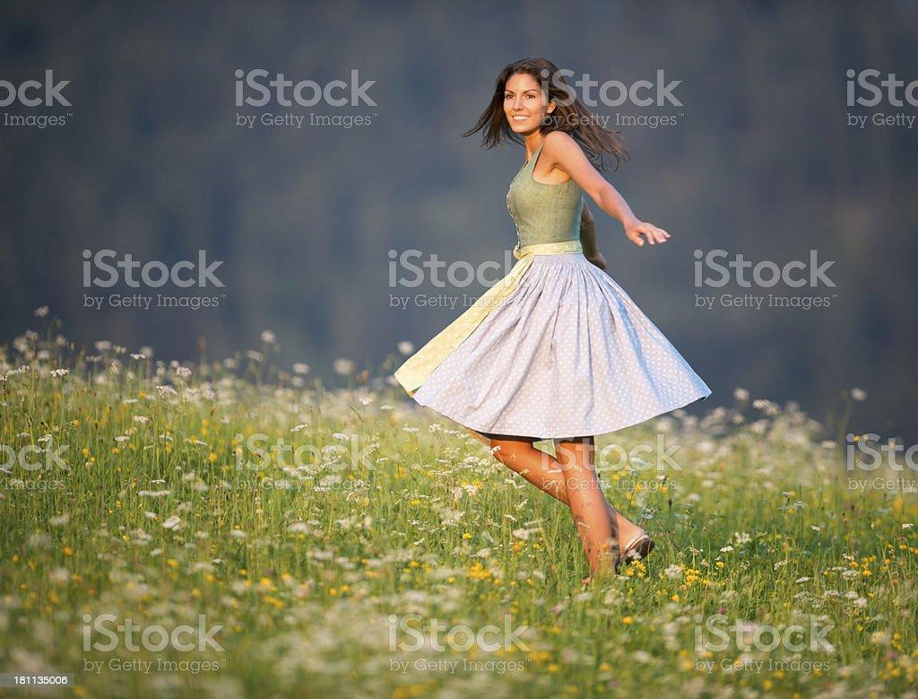 Dirndl Fashion, Beauty enjoying Nature stock photo