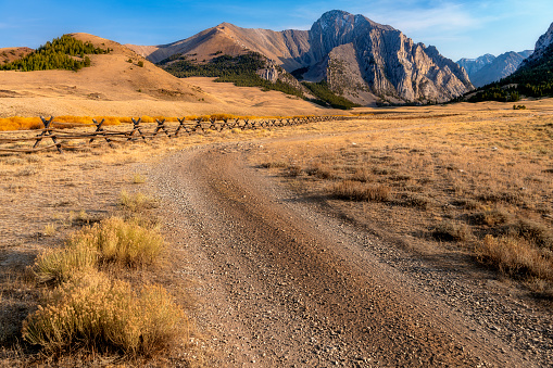Idaho mountains with dirt road leading to them