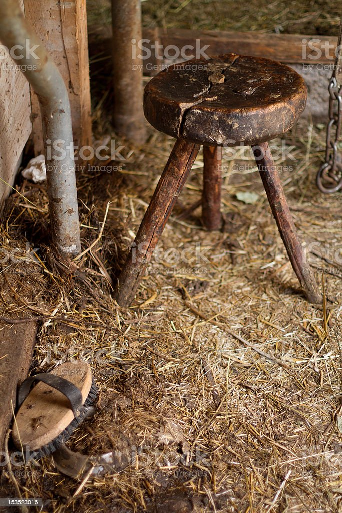 Dirt and Old Milking Stool in the Cowshed royalty-free stock photo
