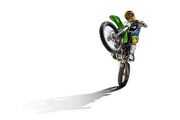 Dirt bike and rider isolated on white – Foto