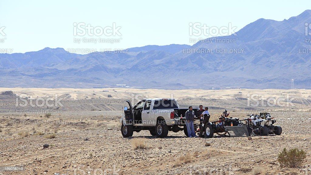 Dirt Bike Discussion At Nellis Dunes Las Vegas royalty-free stock photo
