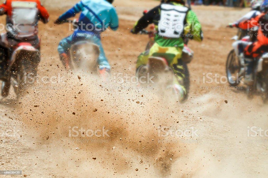 Dirt debris from a motocross race stock photo