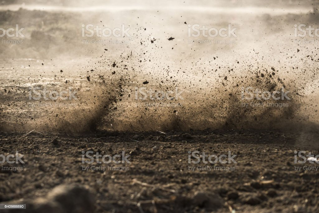 dirt fly after motocross roaring by royalty-free stock photo