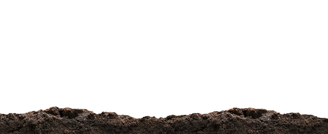 dirt heap, soil pile on white, horizontal dirt, black soil for construction and gardening concept, copy space