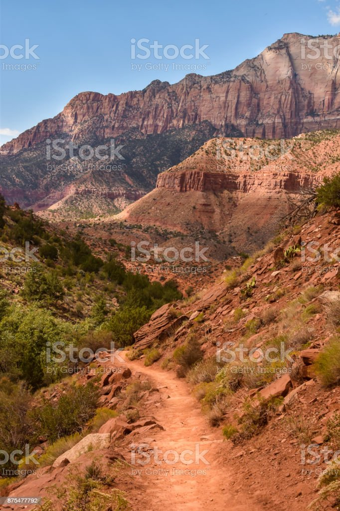 Dirt Hiking Path Overlooking the Zion National Park stock photo