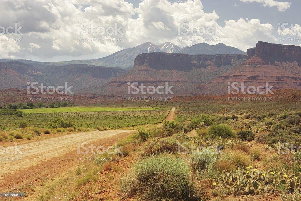 Dirt Lane Desert Mesa Landscape royalty-free stock photo