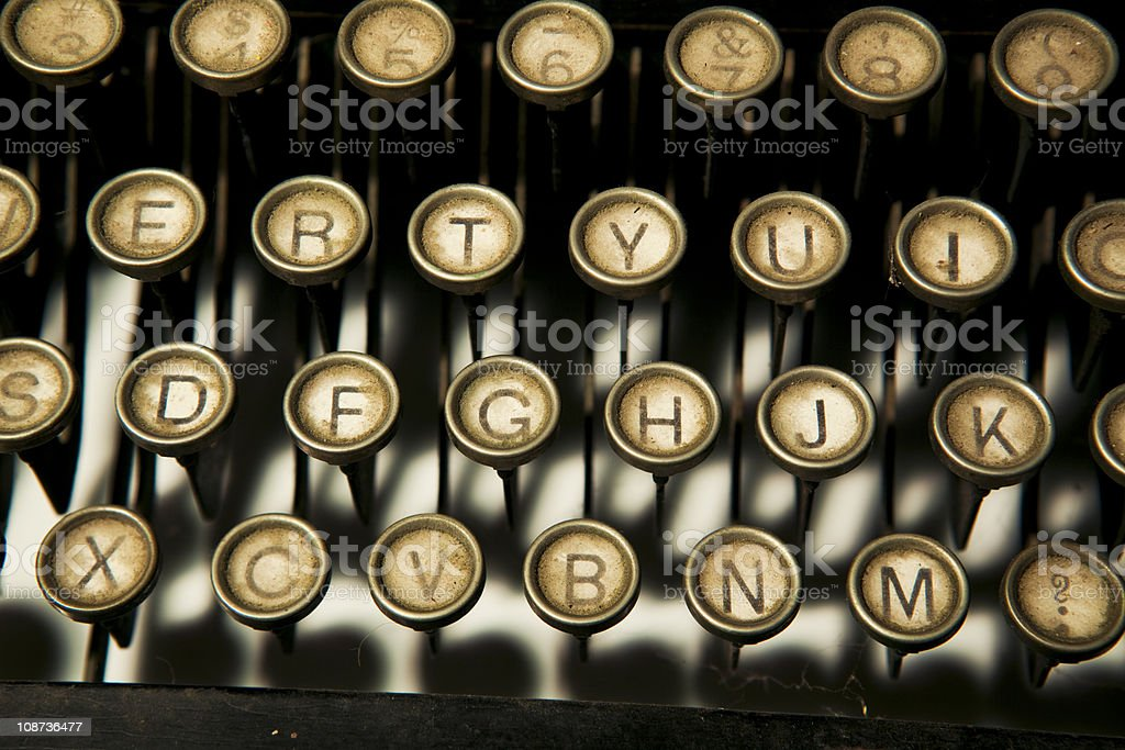 Dirt old typewriter keys stock photo