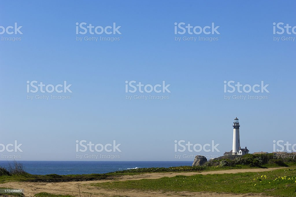 Dirt Path and Pacific Coast Lighthouse royalty-free stock photo