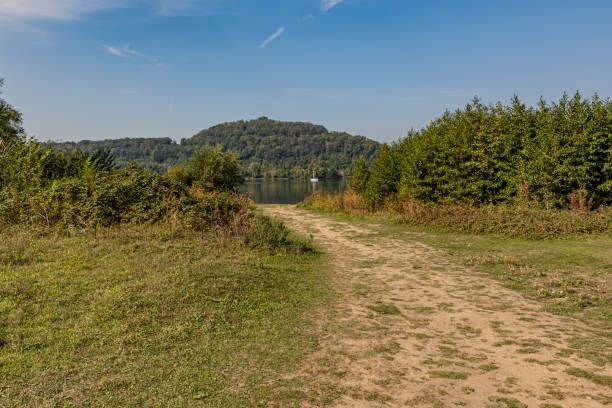 onverharde weg tussen gras en groene wilde installaties in de richting van de rivier maas met een kleine boot en een heuvel met groene bomen op de achtergrond - maasvallei stockfoto's en -beelden