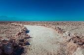 Dirt path in the Salar de Atacama, salt desert of Atacama