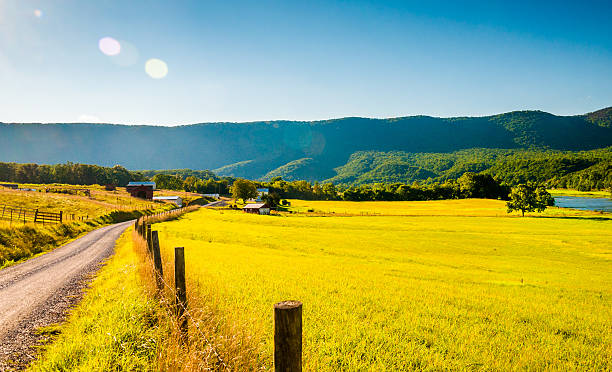Dirt road and farm in the Shenandoah Valley, Virginia. stock photo