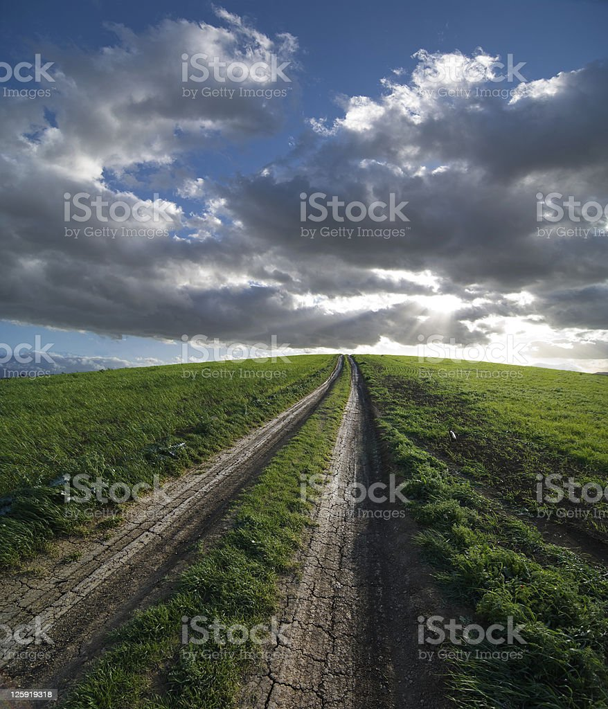 Dirt Road And Green Field At The Sunset royalty-free stock photo