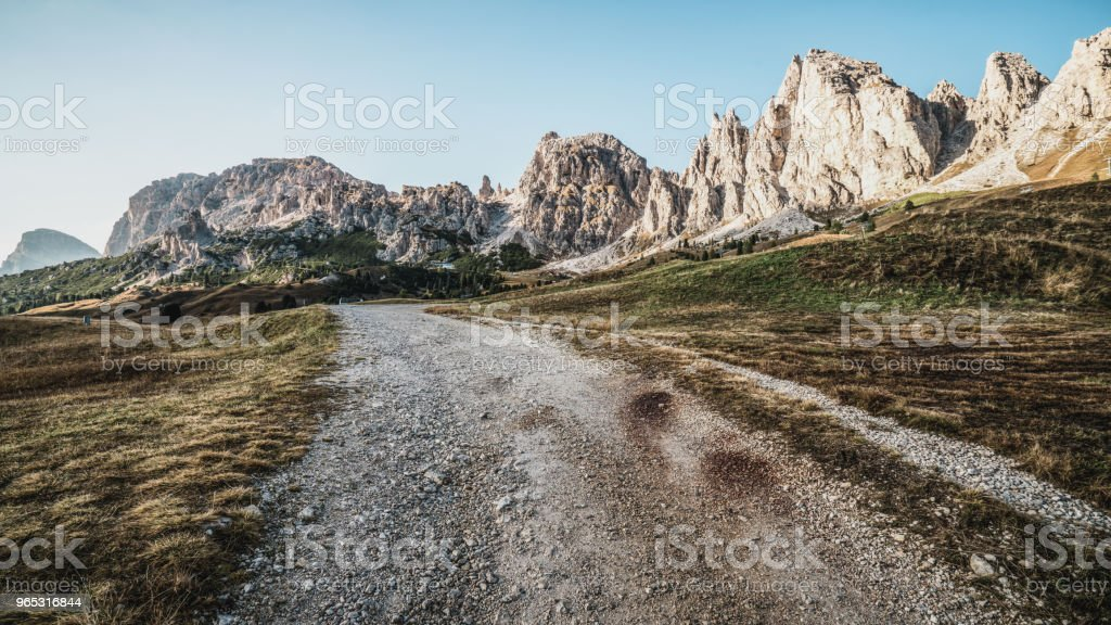 Dirt Road and Hiking Trail Track in Dolomite Italy zbiór zdjęć royalty-free