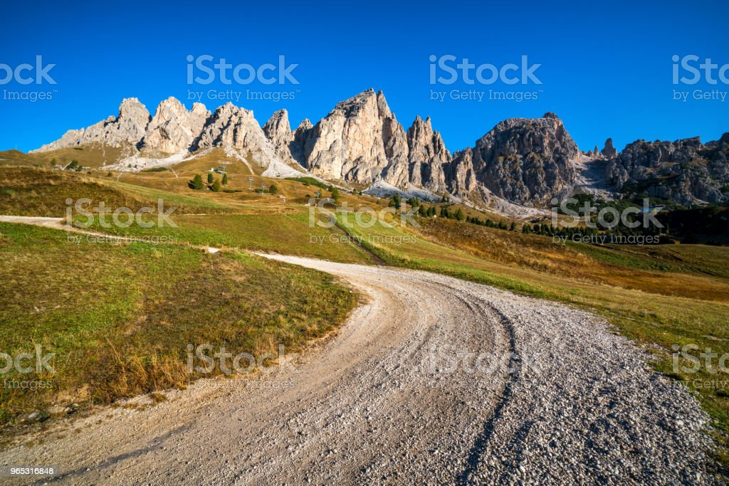 Dirt Road and Hiking Trail Track in Dolomite Italy royalty-free stock photo