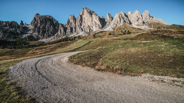 Dirt Road and Hiking Trail Track in Dolomite Italy stock photo