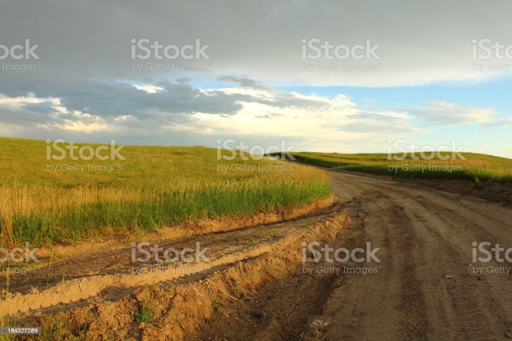 Dirt Road and storm cloud royalty-free stock photo