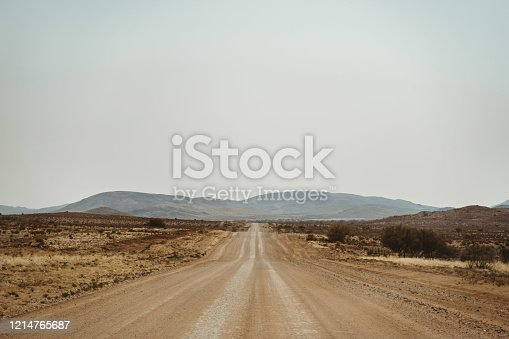 wideangel Dirty road with desert sand, Helmeringhausen, Karas, Namibia Africa