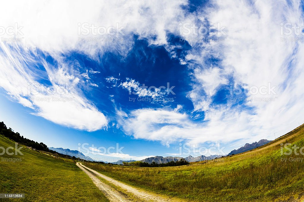 Dirt road fisheye landscape royalty-free stock photo