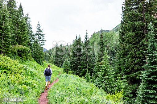Dirt road hike on Conundrum Creek Trail with pine tree forest in Aspen, Colorado in 2019 summer with man walking