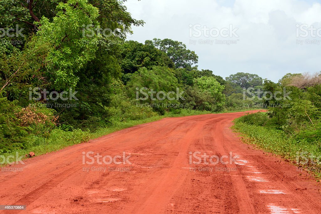 Dirt road in Africa stock photo