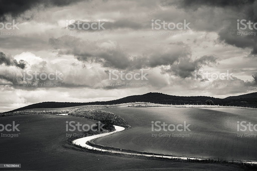 Dirt Road in Black and White, Tuscany, Val d'Orcia, Italy royalty-free stock photo