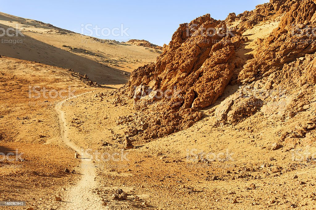 Dirt Road in El Teide National Park, Canary Islands royalty-free stock photo