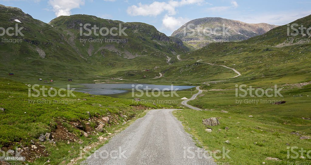 Dirt road in Jordalen valley (Voss, Hordaland, Norway) stock photo