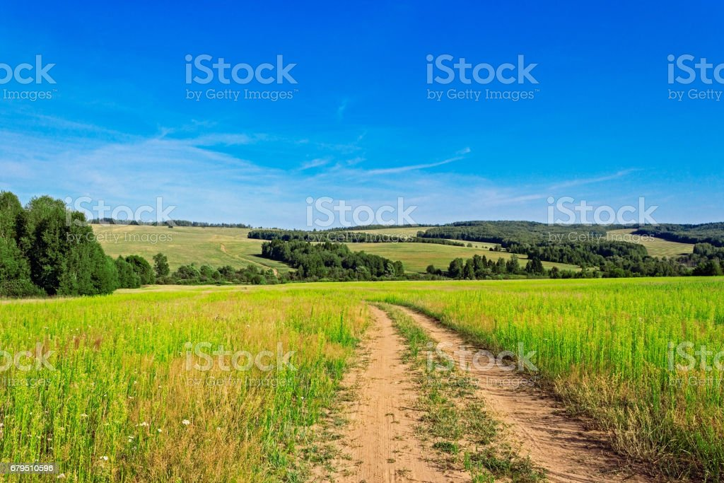 dirt road in the field royalty-free stock photo