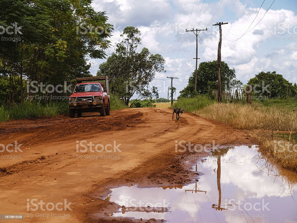 Dirt road in the interior of Paraguay, South America royalty-free stock photo