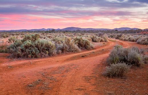 穿過沙漠平原通往山脈的土路 照片檔及更多 不毛之地 照片