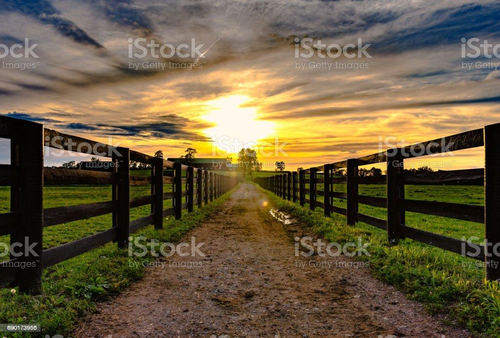 Camino de terracería que conduce a un granero con puesta de sol - foto de stock