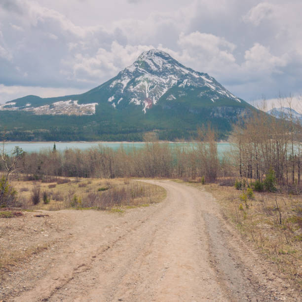 Dirt Road Leading to Barrier Lake and Mount Baldy Landscape of dirt road leading to a snow capped Mount Baldy and Barrier Lake in Kananaskis Alberta. mount baldy stock pictures, royalty-free photos & images