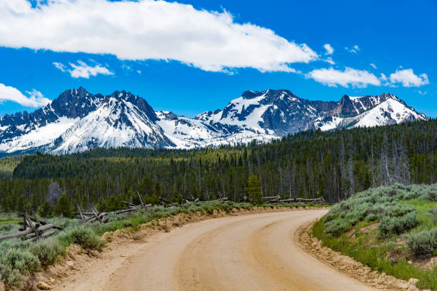A dirt road leading to the Sawtooth Mountains stock photo