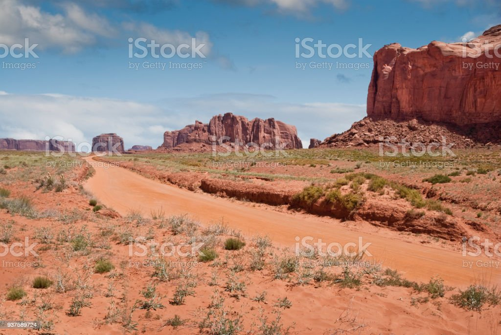 Dirt Road Leading to Merrick Butte stock photo