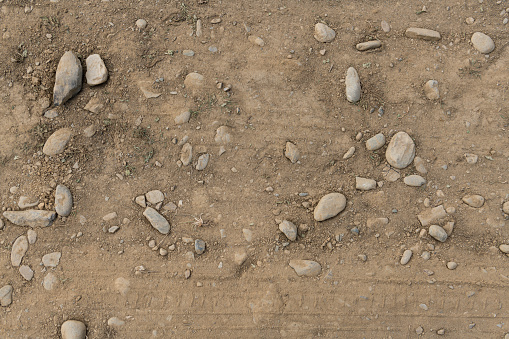 Dirt or soil with rocks close-up, environmental texture, pattern.