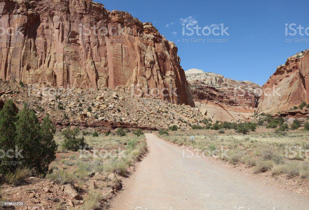 Dirt Road through Capitol Reef National Park. Utah. USA stock photo