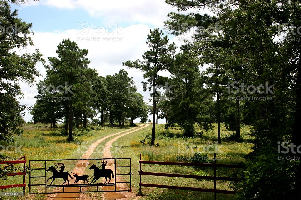 Dirt road to ranch near Austin, Texas. Fence, gate. stock photo