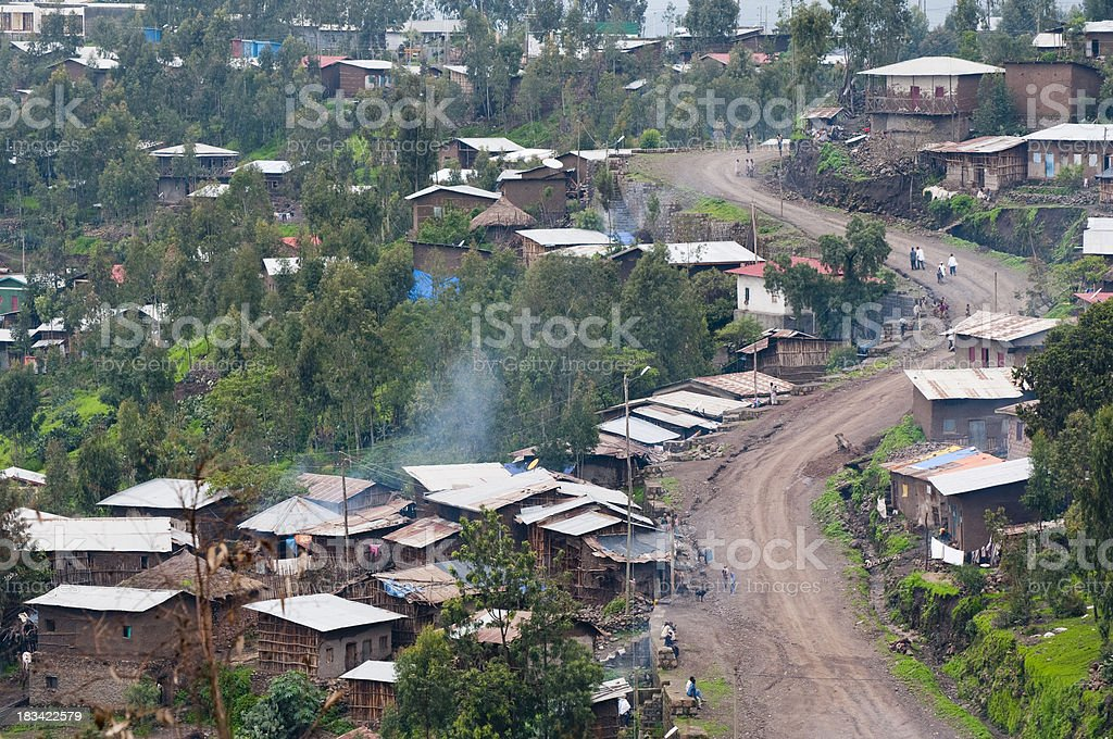 African road through neighborhood in Lalibela, Ethiopia stock photo