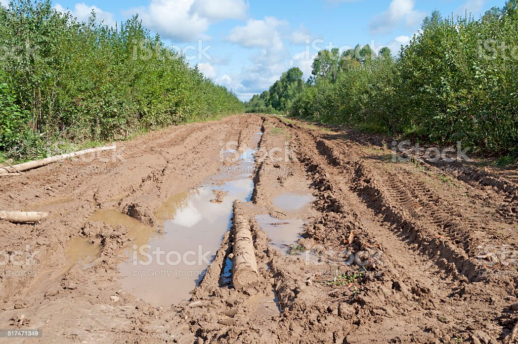 Dirt road with mud and big puddles stock photo