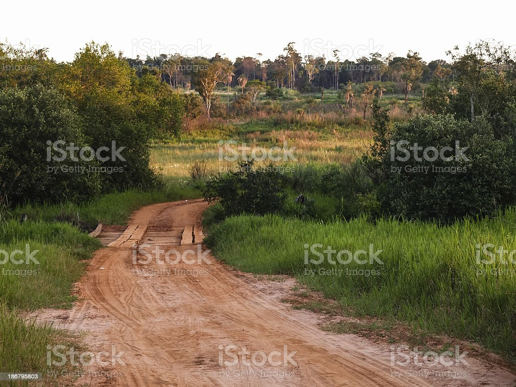 Dirt road with wooden bridge. Landscape in Paraguay, South Ameri stock photo