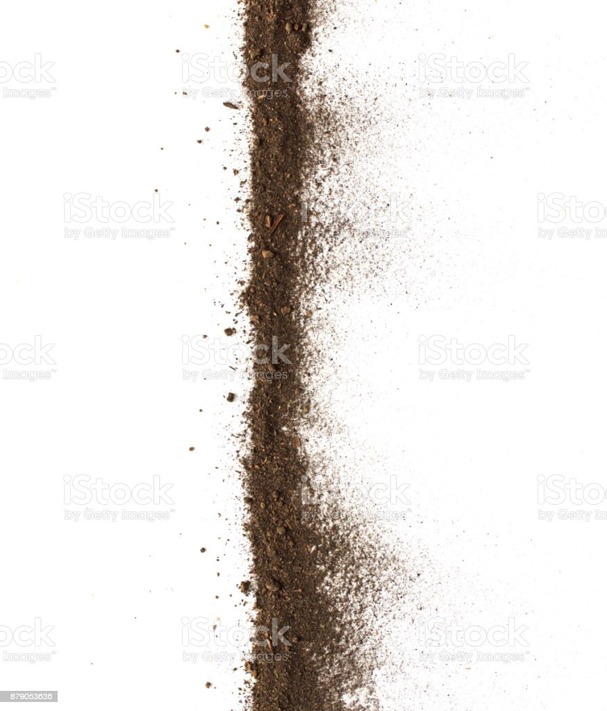 Dirt, soil pile isolated on white background, top view stock photo
